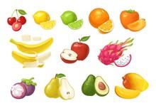 Set Tropical Fruits. Vector Co...