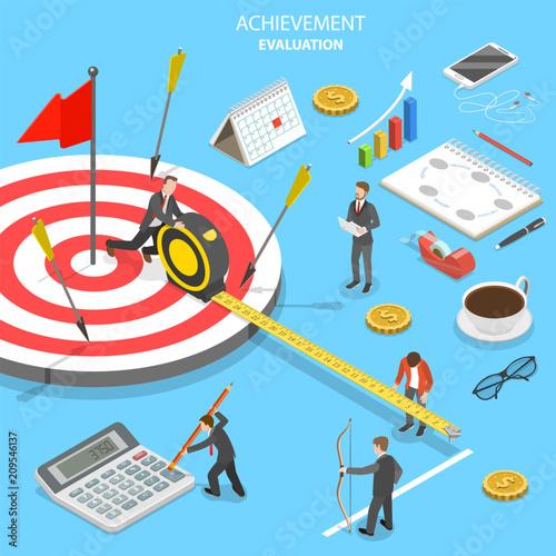 Fotografía  Flat isometric vector concept of achievement evaluation, company performance, business target