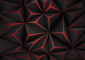 Abstract black polygon red ...