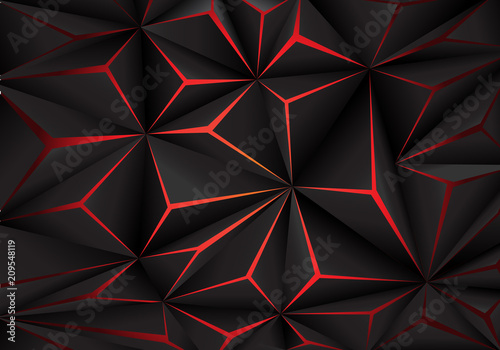 Plakat abstrakcyjny  abstract-black-polygon-red-light-futuirstic-technology-design-background-vector-illustrati