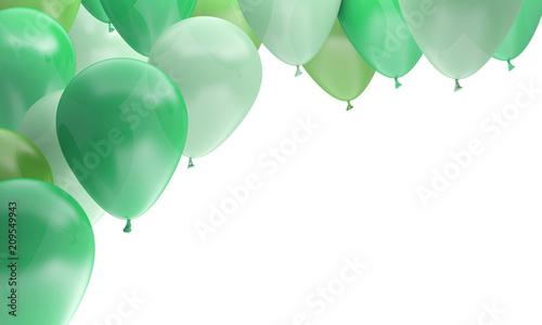 ballons fête anniversaire célébration verts Fototapet