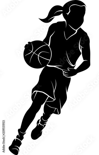 Girl Dribbling A Basketball Silhouette - Buy this stock ...