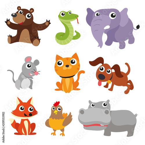 Poster de jardin Zoo animals character design