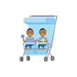 african baby with toys twins double blue stroller full length avatar on white background, successful family concept, flat cartoon vector illustration