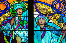 Detail Of Art Nouveau Stained Glass Window By Alfons Mucha, St. Vitus Cathedral, Prague Castle, Czech Republic - Women Who Symbolize Czech And Slovakian People