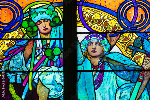 Fotografering Detail of art nouveau stained glass window by Alfons Mucha, St