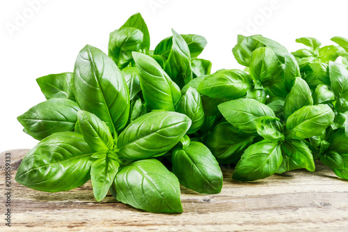 Canvas Prints Condiments Basil leaves on wooden table.