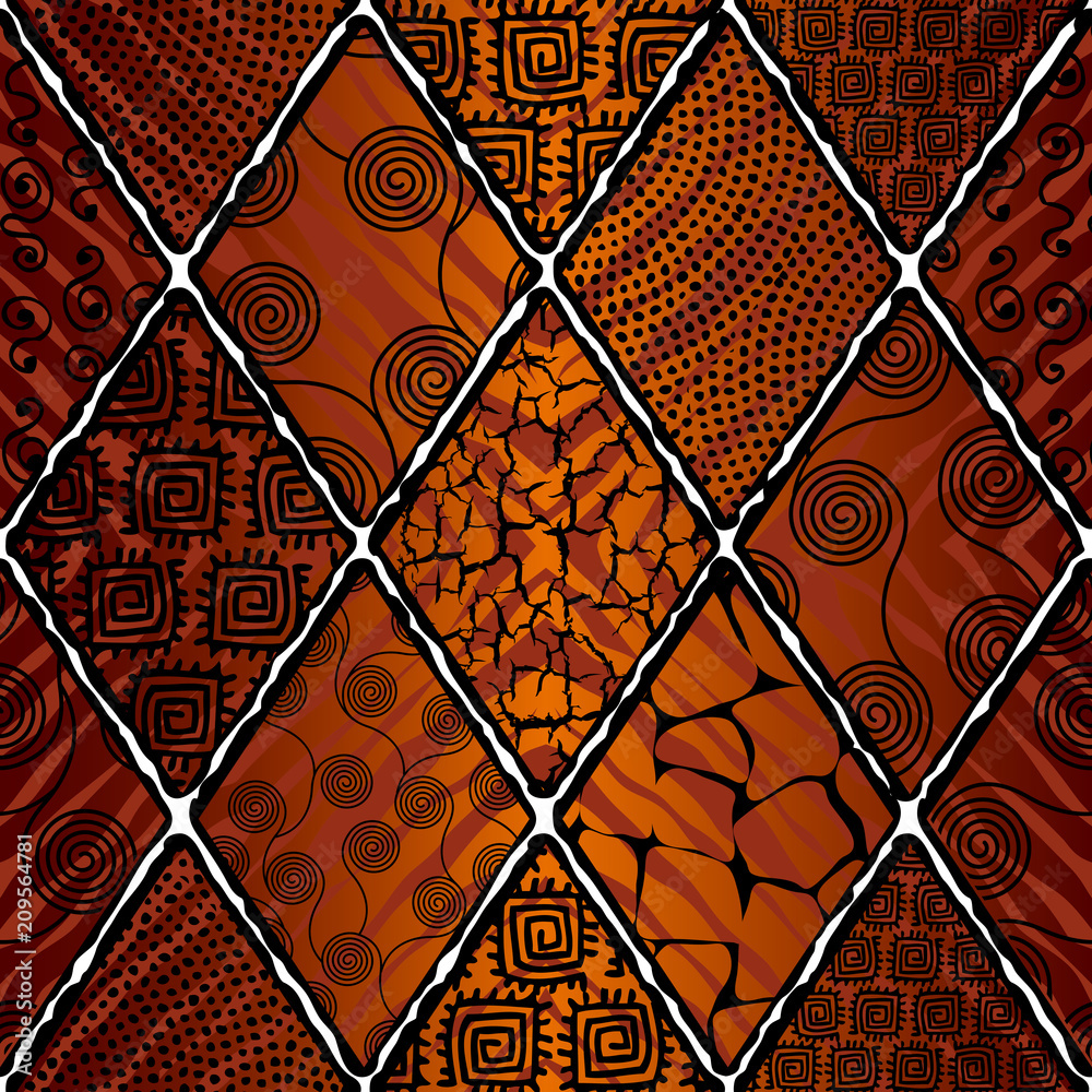 Photo Tribal boho seamless pattern in african style on black background