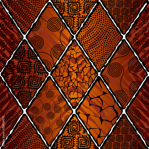 Ταπετσαρία τοιχογραφία Tribal boho seamless pattern in african style on black background