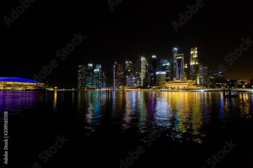 In de dag Aziatische Plekken Marina Bay Singapore at night