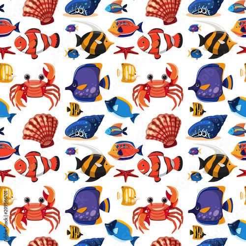 Obraz na plátně Pattern of sea animals