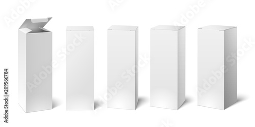 High white cardboard box mockup. Set of cosmetic or medical packaging, paper boxes. Vector illustration