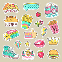 Teenage Badge With Fashion Sneakers, Food And Camera Vector Isolated Stickers