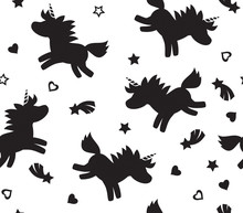 Vector Unicorn Seamless Pattern, Black  Silhouettes, Isolated On White.