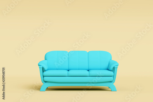 Modern Blue Sofa In Brown Living Room. Minimal Style Concept. Pastel Color  Style.