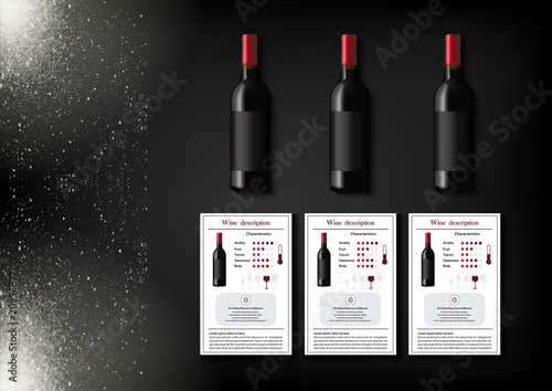 Valokuvatapetti A simple design of realistic bottles of wine and wine cards with descriptions and characteristics of the wine on a black background with sparkling sparkles