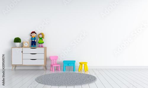 Obraz white child room interior for mockup, 3D rendering - fototapety do salonu