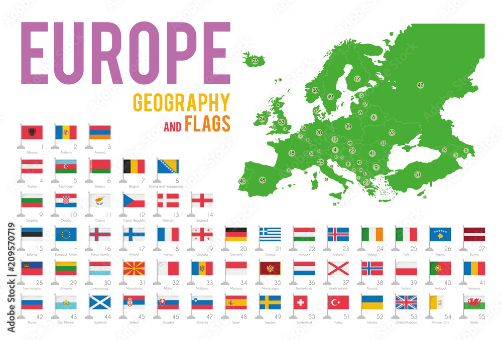 Fototapeta Set of 56 flags of Europe isolated on white background and map of Europe with countries situated on it.