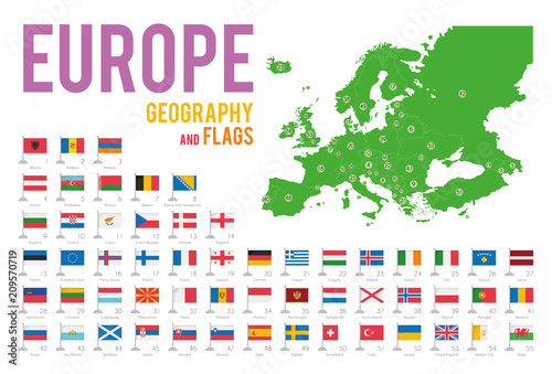 Photo Set of 56 flags of Europe isolated on white background and map of Europe with countries situated on it