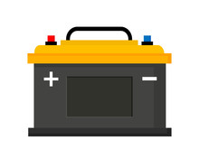 Car Battery Icon Isolated On W...
