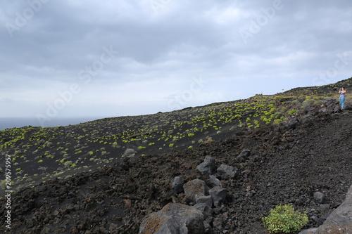 Tuinposter Khaki The volcan route, La Palma island.