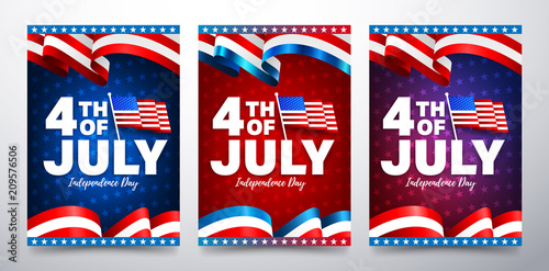 4th of July poster template Fototapet