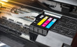 Selective focus on ink cartridge printer