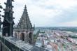 Blick auf eine Großbaustelle in Magdeburg, vom Dom aus gesehen