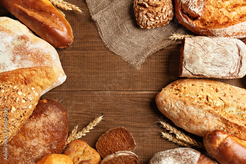Staande foto Brood Food. Bread And Bakery On Wooden Background