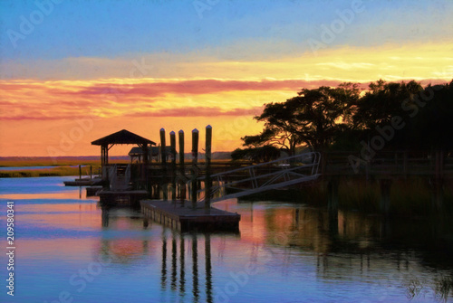 Obraz na plátne Boat Dock in Murrells Inlet South Carolina at Sunset
