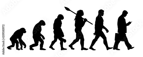 Obraz Theory of evolution of man silhouette - fototapety do salonu
