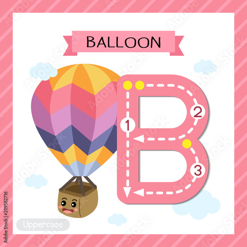 Letter B uppercase cute children colorful transportations ABC