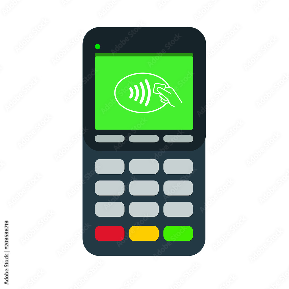 Fototapeta Contactless payment terminal. Tap credit card or mobile phone to pay. Flat style vector illustration.