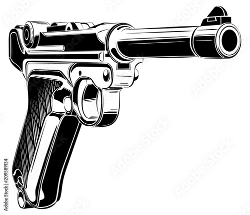 Fotografia, Obraz  Luger P08 Parabellum retro pistol vector.