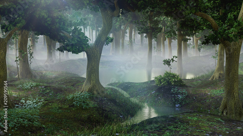 foggy fantasy forest with ponds