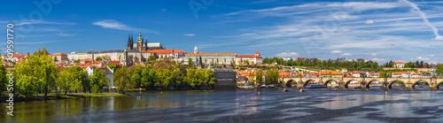 Plakat Panoramę Pragi panoramę Starego Miasta, Zamek Praski, Most Karola, Katedra św. Wita. Praga, Republika Czeska