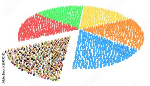 Valokuva Cartoon Crowd, Pie Chart Slice Shape
