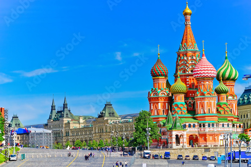 Photo Stands Asian Famous Place View of St. Basil's cathedral on the Red Square in summer in Moscow, Russia.