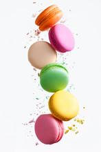 Macaron Sweets. Colorful Macaroons Flying