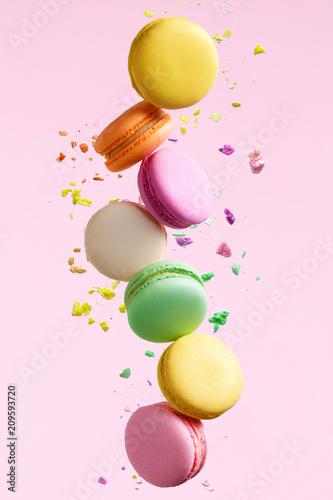 Aluminium Prints Macarons Macaron Dessert. Colorful Macaroons Flying