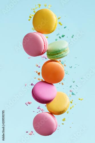 Poster Macarons Macaron Dessert. Colorful Macaroons Flying