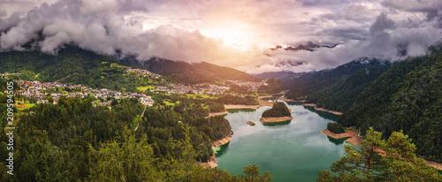 Fotografie, Obraz  Panoramic view of lake of Centro Cadore in the Alps in Italy, Dolomites, near Belluno