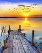amanecer de colores sobre el lago