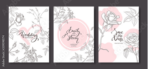 Fototapeta Wedding Invitation Cards With Hand Drawn Roses Floral Poster Invite Vector Decorative Greeting Card Invitation Design Background