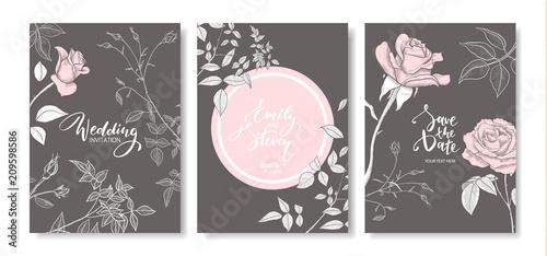 Fototapeta Wedding invitation cards with hand drawn roses.Floral poster, invite. Vector decorative greeting card,invitation design background. obraz