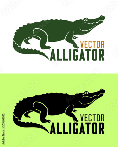 Tela Alligator silhouette vector illustration