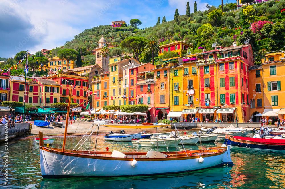 Fototapety, obrazy: Beautiful bay with colorful houses in Portofino,  Liguria, Italy