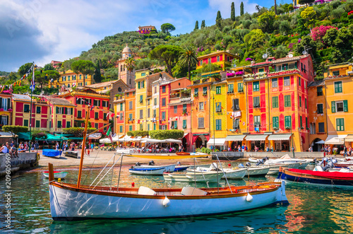 Garden Poster Liguria Beautiful bay with colorful houses in Portofino, Liguria, Italy