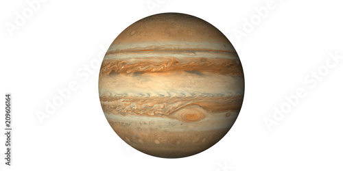 Valokuva Planet jupiter in space white background