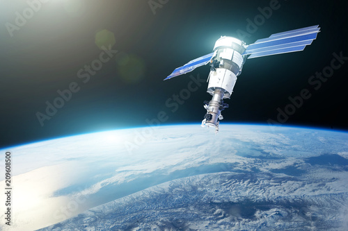 Keuken foto achterwand Nasa Research, probing, monitoring of in atmosphere. Communications satellite in orbit above the surface of the planet Earth. Elements of this image furnished by NASA.